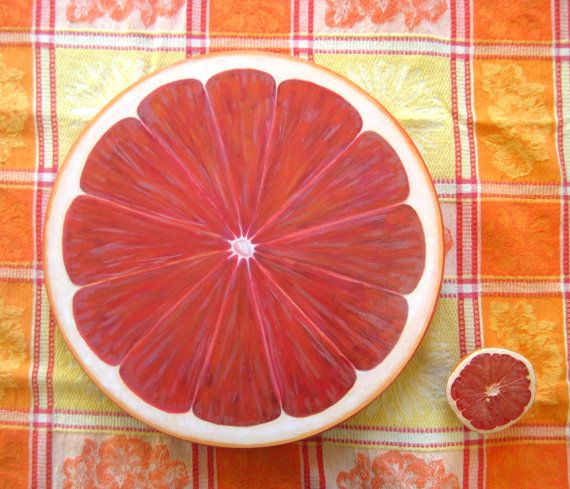 Grapefruit Lazy Susan Hand Painted 15 inch Wood by JaneSuzanne, $120.00