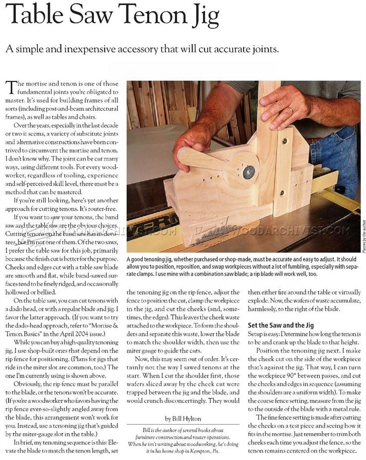 #1327 Table Saw Tenon Jig Plans - Joinery Tips, Jigs and Techniques