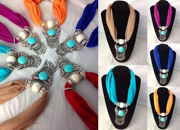 Popular Rhinestone Pendant Scarf Necklace Canada Wholesale Best selling pendant scarves on www.jewelryscarfcanada.com