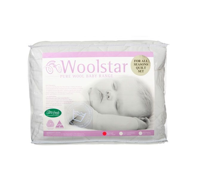 Luxury All Seasons Wool WOOLSTAR  Features: Made from 100% high micron Australian wool 100% Soft cotton sateen cover Two quilts in one (x1 200GSM and x1 350GSM totaling 550GSM) For use all year round Machine washable Ultrafresh treated Woolmark certified 5 year guarantee  Dimensions: Cot Quilt - 100cm x 120cm - #quilts