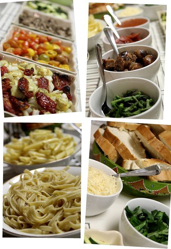 Pasta Bar ~ with grilled sausage, roasted asparagus and other veggies, sautéed garlic, onion, and artichoke hearts, and MORE!