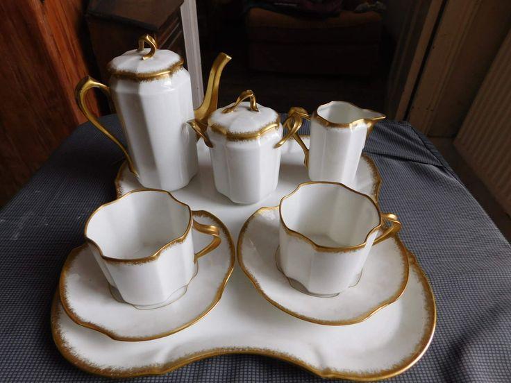 Balleroy & Cie et Maison Londe service à café tête à tête porcelaine de Limoges circa 1925 de la boutique BROCandBROL sur Etsy