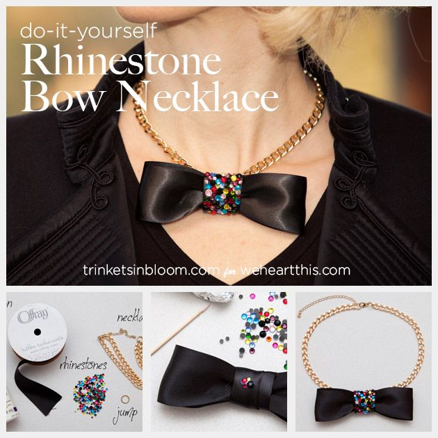 375 best handmade jewellery images on pinterest necklaces diy rhinestone bow necklace by trinkets in bloom solutioingenieria Gallery