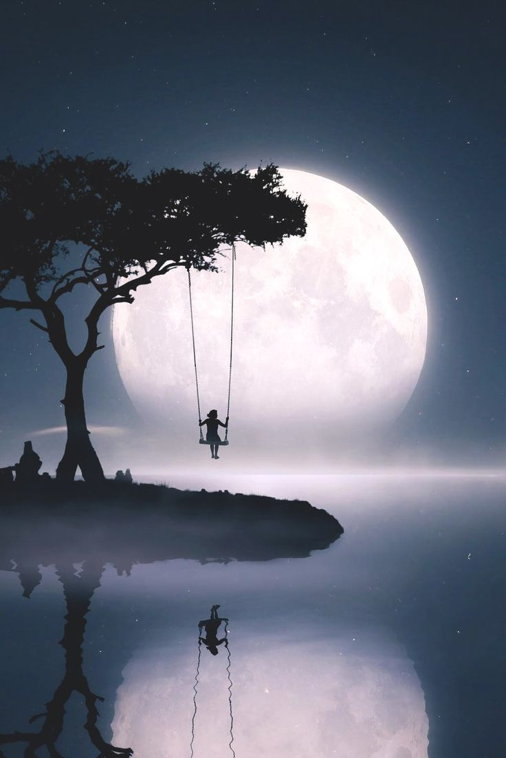 Hermoso paisaje feliz noche