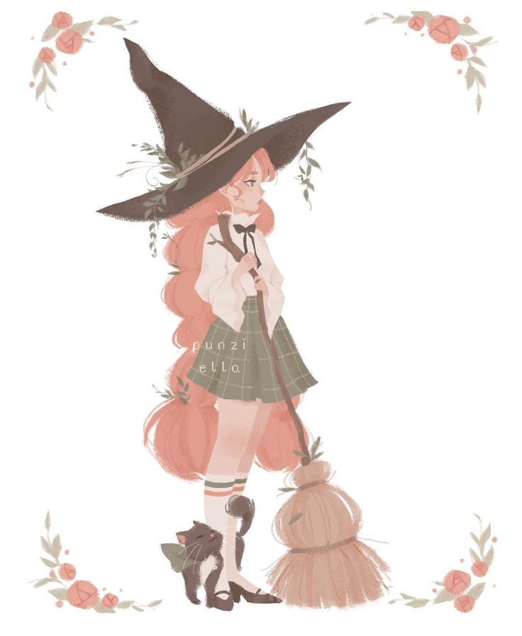 """25.2k Likes, 78 Comments - Pauline ✨✨ (@punziella) on Instagram: """" Witchy postcard   You can watch how I drew her on my patreon! Link in my bio   Just really…"""""""
