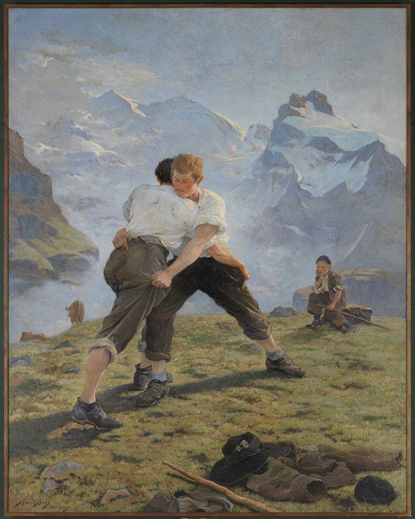 La lutte suisse d'Auguste Baud-Bovy, 1887