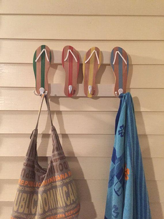 Flipflops towel rack beach towel rack beachy towel by PeavyPieces