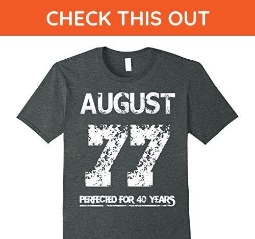 Mens August 1977 - 40th Birthday - Perfected For 40 Years T-shirt 2XL Dark Heather - Birthday shirts (*Amazon Partner-Link)