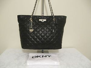 $335 DKNY Items Quilted Nappa Large Black Leather Tote Handbag Purse | eBay