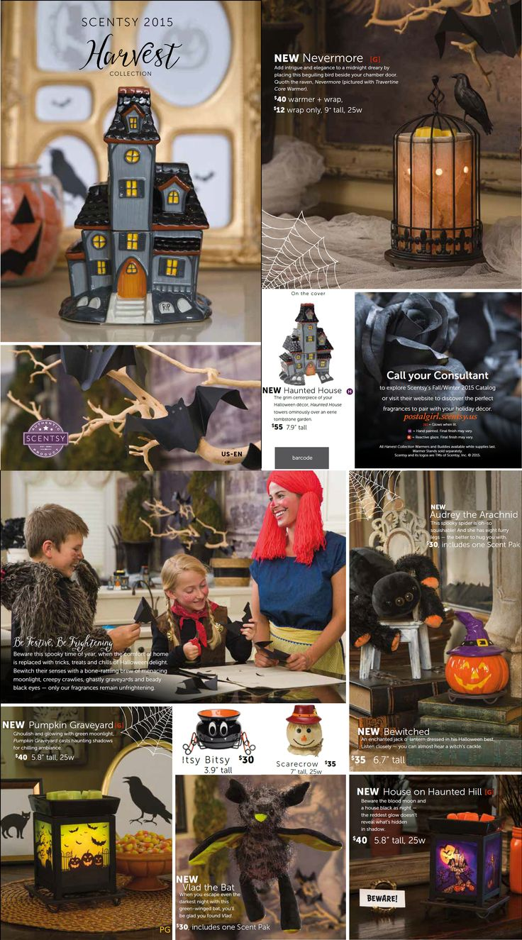 Scentsy Harvest Collection 2015 available September 1, 2015 at www.durenda.scentsy.us  Scentsy Halloween collection this year is sooo cute including Nevermore, Bewitched, Pumpkin Graveyard, House on Haunted Hil, Vlad the Bat Buddy, Audrey the Spider Buddy, Haunted House, and returning favorites Itsy Bitsy and Scarecrow. Scentsy Fall 2015 and Scentsy Halloween 2015 will be the best yet.