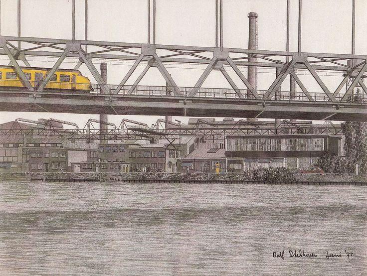 Demka-fabrieken Utrecht - tekening van Dolf Schuurmans Stekhoven uit 1975, zicht op het fabriekscomplex aan de Amsterdamsestraatweg vanaf het Amsterdam-Rijnkanaal met de 'Demka' spoorbrug. Het gehele complex is in 1985 gesloopt. De DEMKA-spoorbrug is er nog steeds, alleen staat er nu de Werkspoor-spoorbrug voor.