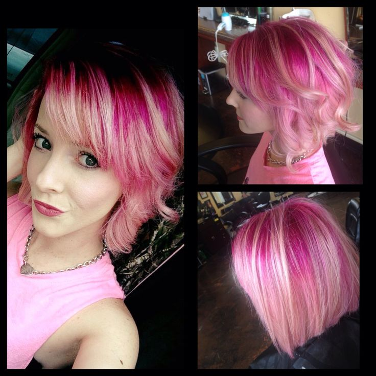 Pink Hot Roots With White Blonde Ends Ombr 233 Inverted Bob