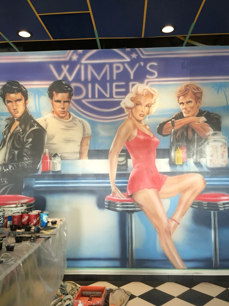 Airbrushed mural at Wimpy's Diner