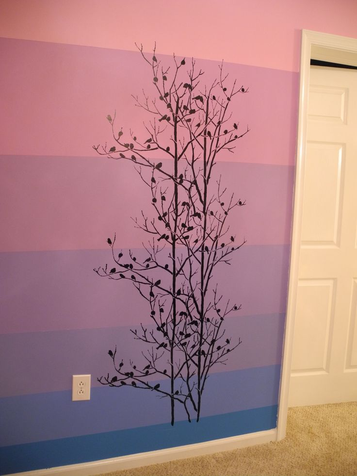 the birds in trees allover stencil pattern painted on an ombre colored wall in a hallway - Bedroom Stencil Ideas