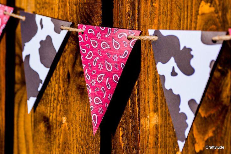Western Garland, Cowboy Party Decoration, Western theme party, Cowboy banner, Western Party, Cowgirl birthday, Farm Birthday Barn Bash by Craftytude on Etsy https://www.etsy.com/listing/226555965/western-garland-cowboy-party-decoration