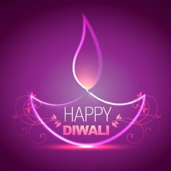 vector happy Diwali pink lighting diya concept with happy Diwali floral art logo…