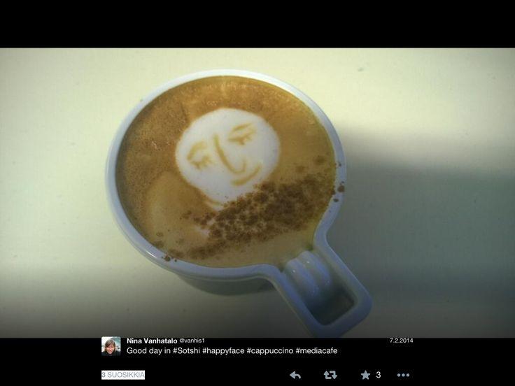 Hymyilevä kahvi stadionin kahvilassa #sotshin #ylemme
