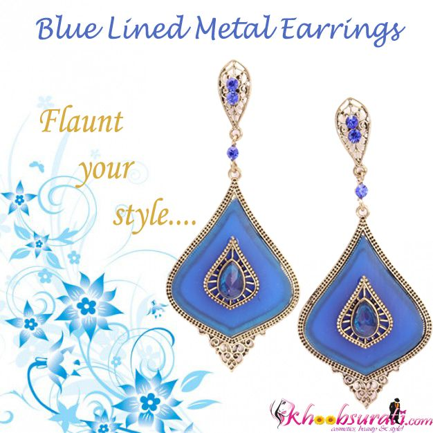 So, girl don't you want to flaunt your new style???? Urbane Blue Metal Lined Earrings that will surely add gleam to your personality...!!! To buy click: http://khoobsurati.com/khoobsurati/urbane-blue-metal-lined-earrings