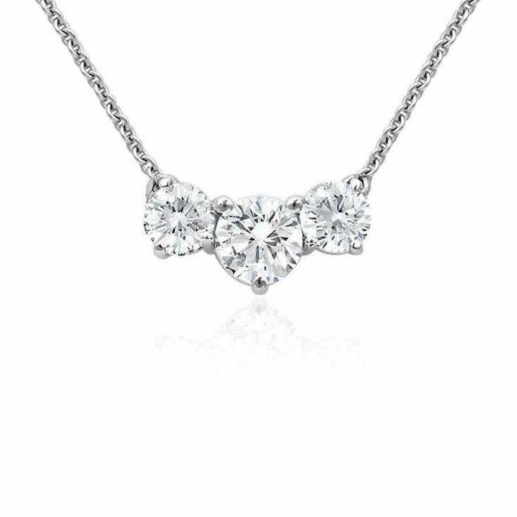 Three Stone Diamond Pendant in 9K White Gold (0.40ct tw)   The Diamond Channel, Johannesburg