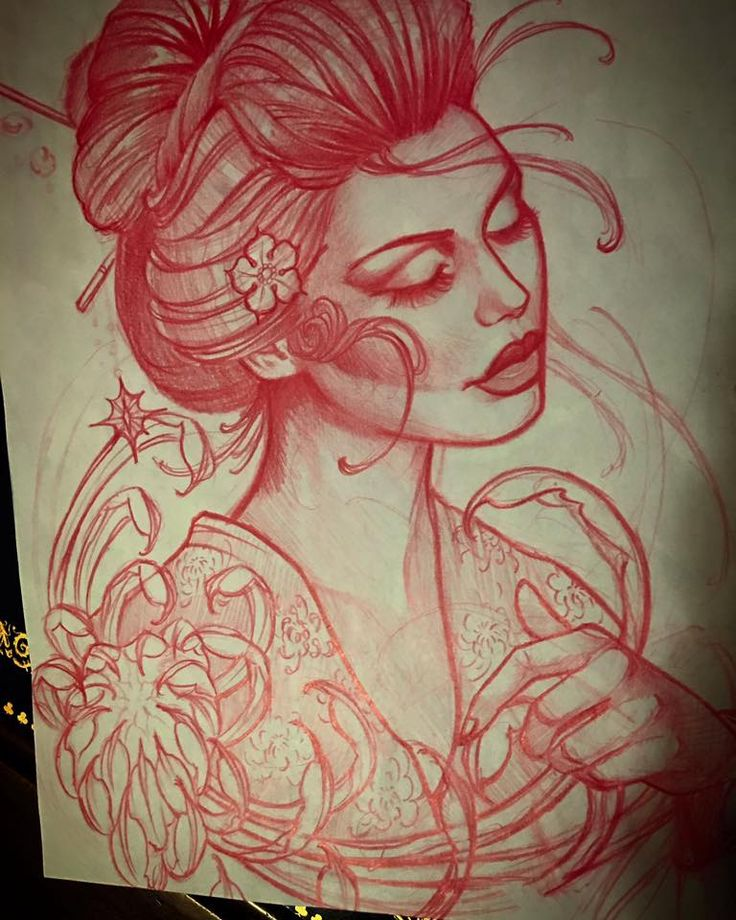 Geisha sketch for todays tattoo. instagram;@jeffnortontattoo
