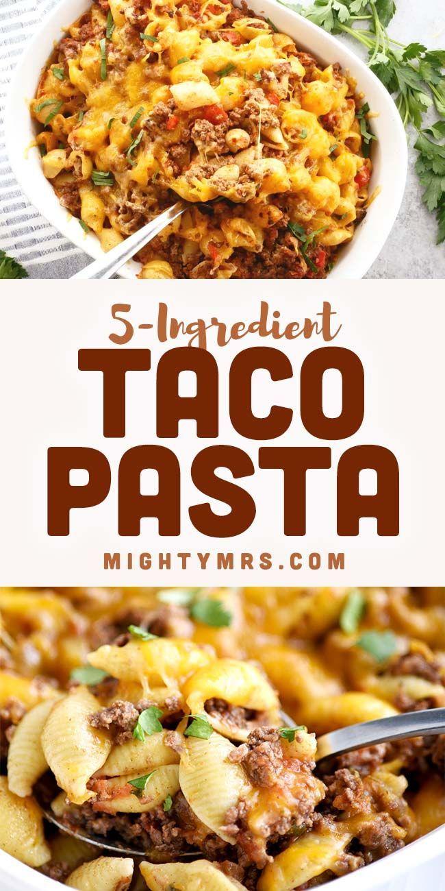 Basic Taco Pasta Casserole Mighty Mrs Recipe In 2020 Taco Pasta Pasta Dishes Recipes
