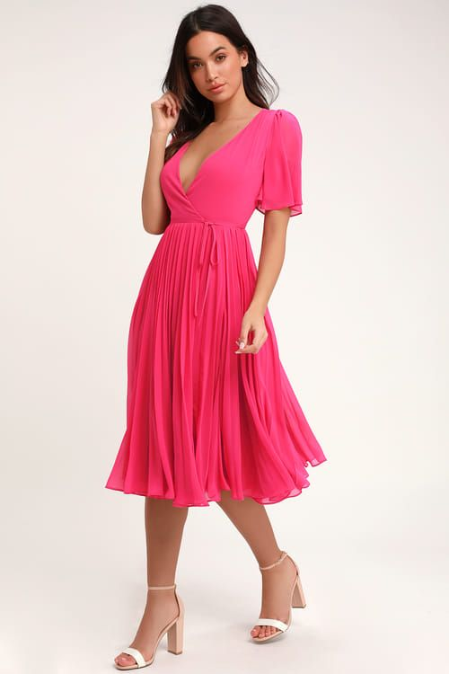 Pleats To Meet You Fuchsia Pink Pleated Midi Wrap Dress Pink Pleated Dress Pleated Midi Dress Hot Pink Dresses