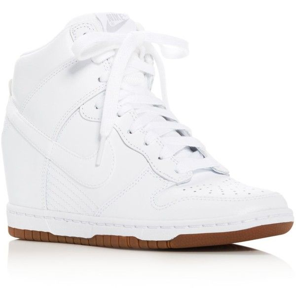 Nike Dunk Sky Hi Essential High Top Wedge Sneakers ($120) ❤ liked on Polyvore featuring shoes, sneakers, white, white high top shoes, white trainers, white high tops, hidden wedge sneakers and nike trainers
