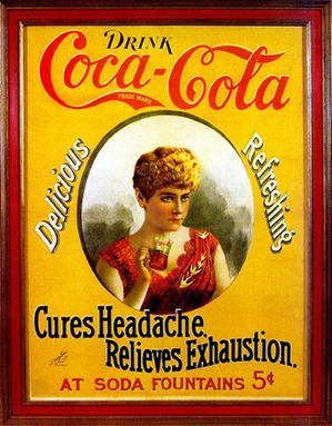 """""""Drink Coca-Cola""""  - """"Cures Headaches Relieves Exhaustion"""". Cameo paper sign, with classically dressed lady, drinking a coke, c.1895. Advertisement created during American Gilded Age era. (Publisher: J. Ottmann Lithograph Company) ~ {cwl}"""