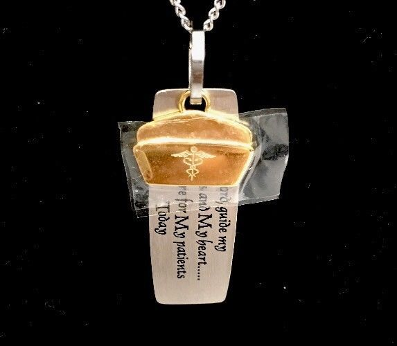 New Nurse Prayer Necklace Pendant Goldtone Silver Doctor Medical Staff Caduceus #Unbranded #Pendant