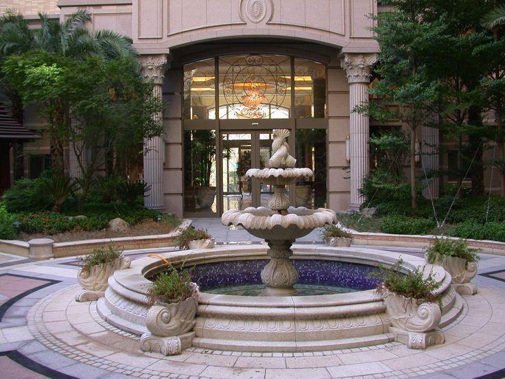 Elegant Outdoor Floor Water Features   2 Tier With Tile Lined Basin Outdoor Garden  Fountain