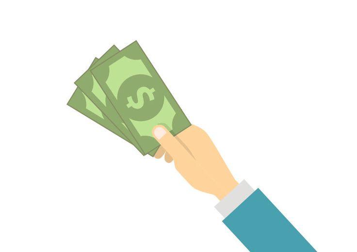 Hand Holding Money Flat Vector