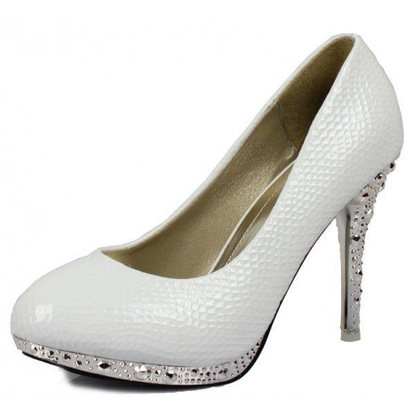 White Wedding Shoes for Women | Home / Women White Bling Stones Noble Wedding High Heel Bridal Shoes