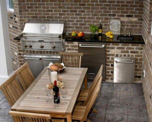 This is pretty much our plan for the back porch using bricks from our demo to build the bbq... I really am digging the teak furniture too!