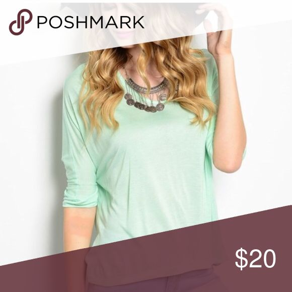 Soft mint top Super soft comfortable mint top. 3/4 sleeve relaxed fit. Never worn. Tops Tees - Short Sleeve