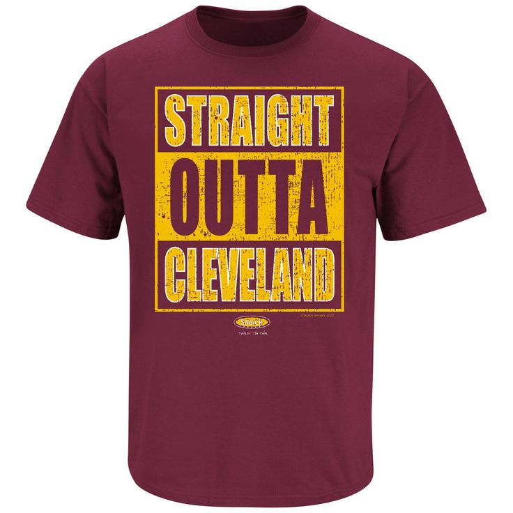 Cleveland Cavaliers Fans. Straight Outta Cleveland. Maroon T Shirt (Sm-5X)