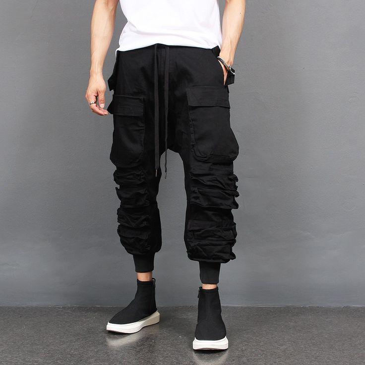 Multi Cargo Pocket Strap Draping Jogger Pants