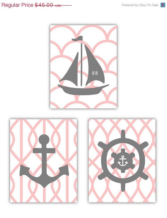 SALE Pink and Gray Art Nautical Nursery