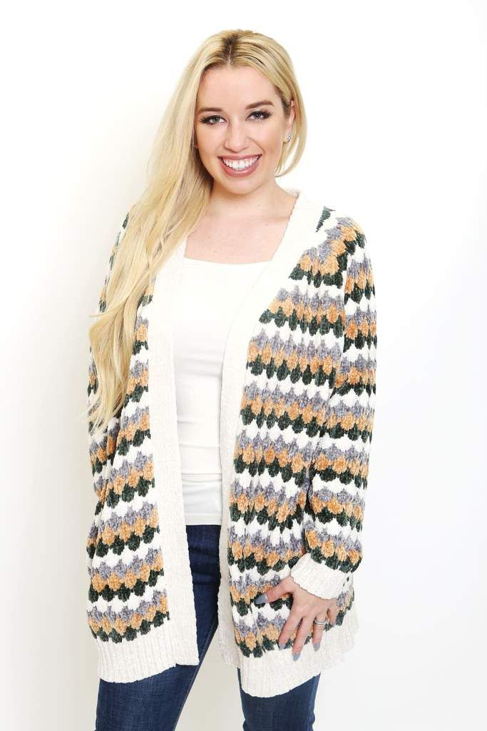 Multi color diamond stripe chenille open cardigan. Soft chenille kitted  yarn. Pockets on side seam. Ribbed on cuffs and hem. b38c08f47