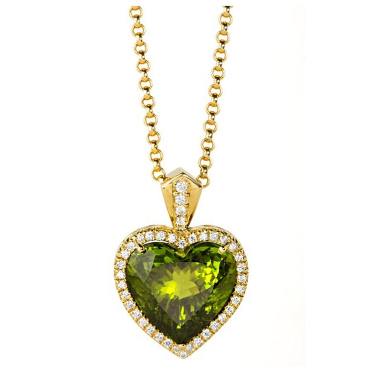 Pakistani Peridot Diamond Heart Necklace | From a unique collection of vintage drop necklaces at http://www.1stdibs.com/jewelry/necklaces/drop-necklaces/