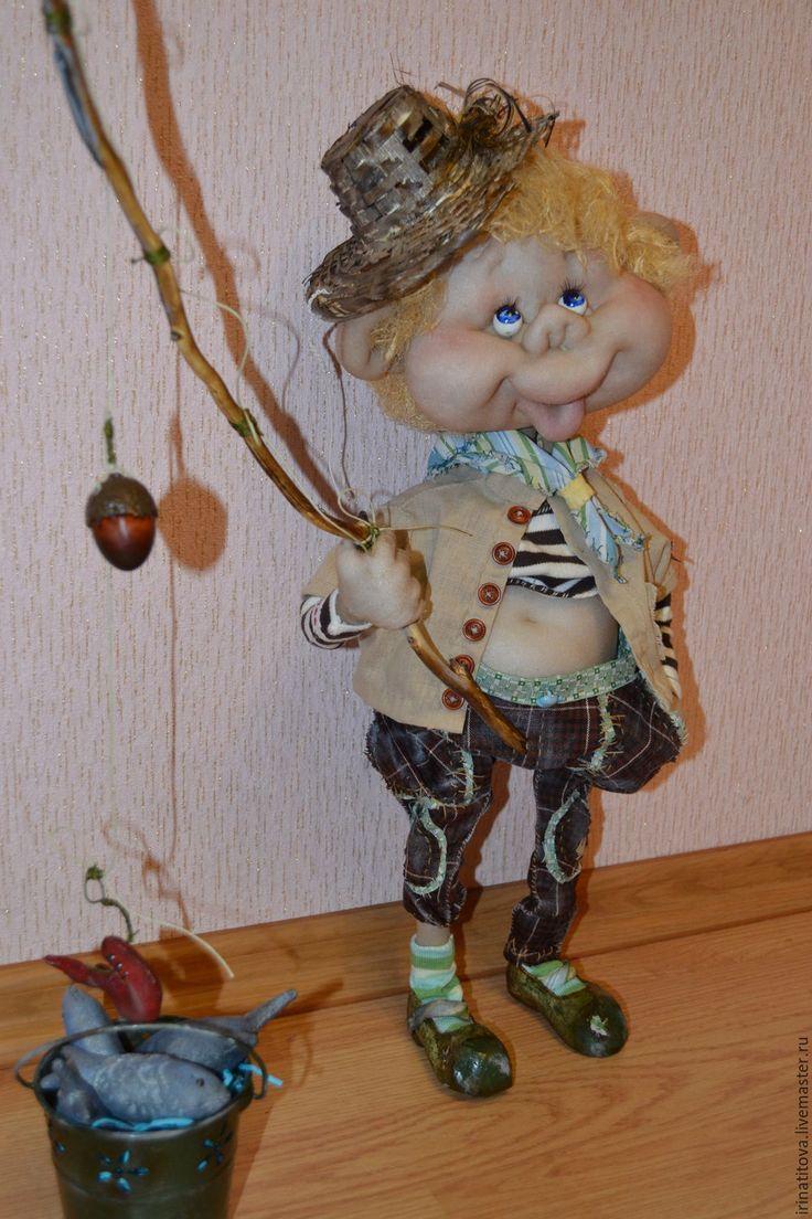 Купить Рыбачок Антошка - комбинированный, кукла ручной работы, текстильная кукла, текстиль для интерьера
