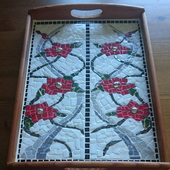 Commissioned work : MOSAIC SERVING TRAY  Wooden Serving Tray of 30 by 40 cm with Glass Mosaic inlay