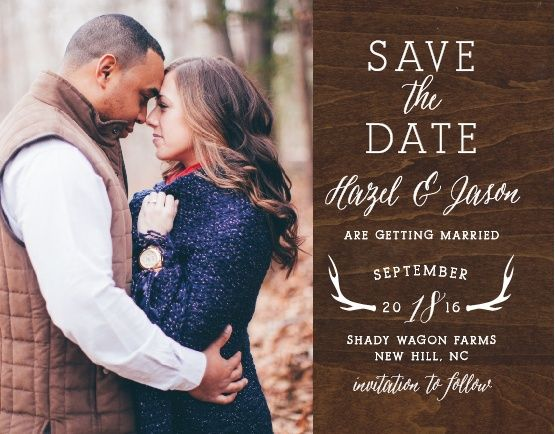 "Add your engagement photo to the Rustic Wood Photo <a class=""crosslink"" href=""https://www.basicinvite.com/wedding/save-the-date.html"" target=""_self"" alt=""Save the Date Cards Online"" title=""Save the Date Cards Online"">Save-the-Date Cards</a>. These warm save-the-dates feature a printed background of dark wood with a rich grain. Then an illustration of antlers frames your wedding date, adding some fun to this design. Personalize them with your custom text in any of our over 100 hand-picked…"