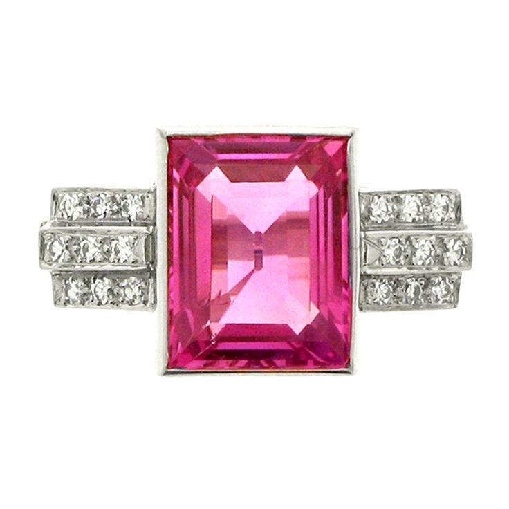 1935 Art Deco Natural Pink Sapphire Diamond 3.78 carat Platinum Ring