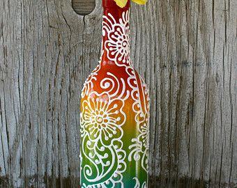 Botella de vino decorativos estilo henna florero sol por LucentJane