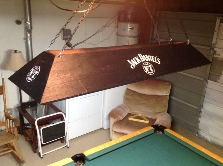 Jack Daniel's light. This is a pool table billard light made from pine and stained. Homemade lamp! Mancave