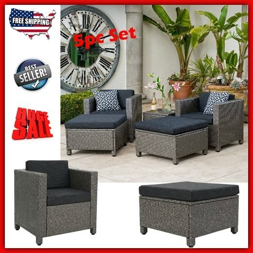 Patio Furniture Sets Clearance Sale Wicker Outdoor Bistro Ottoman Chair  Modern