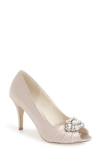 Free shipping and returns on pink paradox london 'Tender' Open Toe Pump (Women) at Nordstrom.com. A gorgeous crystal brooch ornament accents the pleat-detailed opentoe of a sleek satin pump lifted by a classic heel. Breathable cushioning in just the right places will make you feel like you're walking on air all night long.