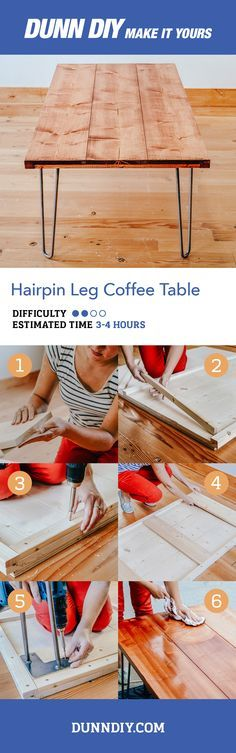 The hairpin leg is the hallmark of mid-century modern design. This hairpin leg coffee table is simple, sturdy, beautiful, and easy to make with some help from DunnDIY.