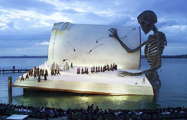 "Verdi' s opera ""A Masked Ball"" at 1999 'Opera on the Lake' floating stage of the Bregenz Opera Festival in Bregenz , Austria http://www.bregenzerfestspiele.com/en/ #theater #opera_sets #stage_design"
