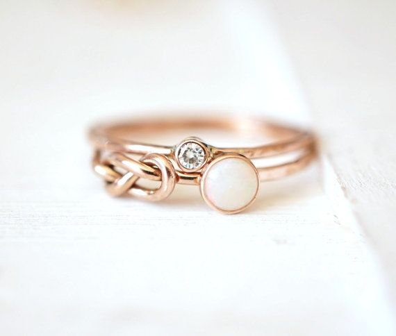 Opal Ring Set, Engagement Rings, Moissanite Ring, Infinity Knot Ring, stacking rings, 14k gold ring, wedding band, alternative wedding